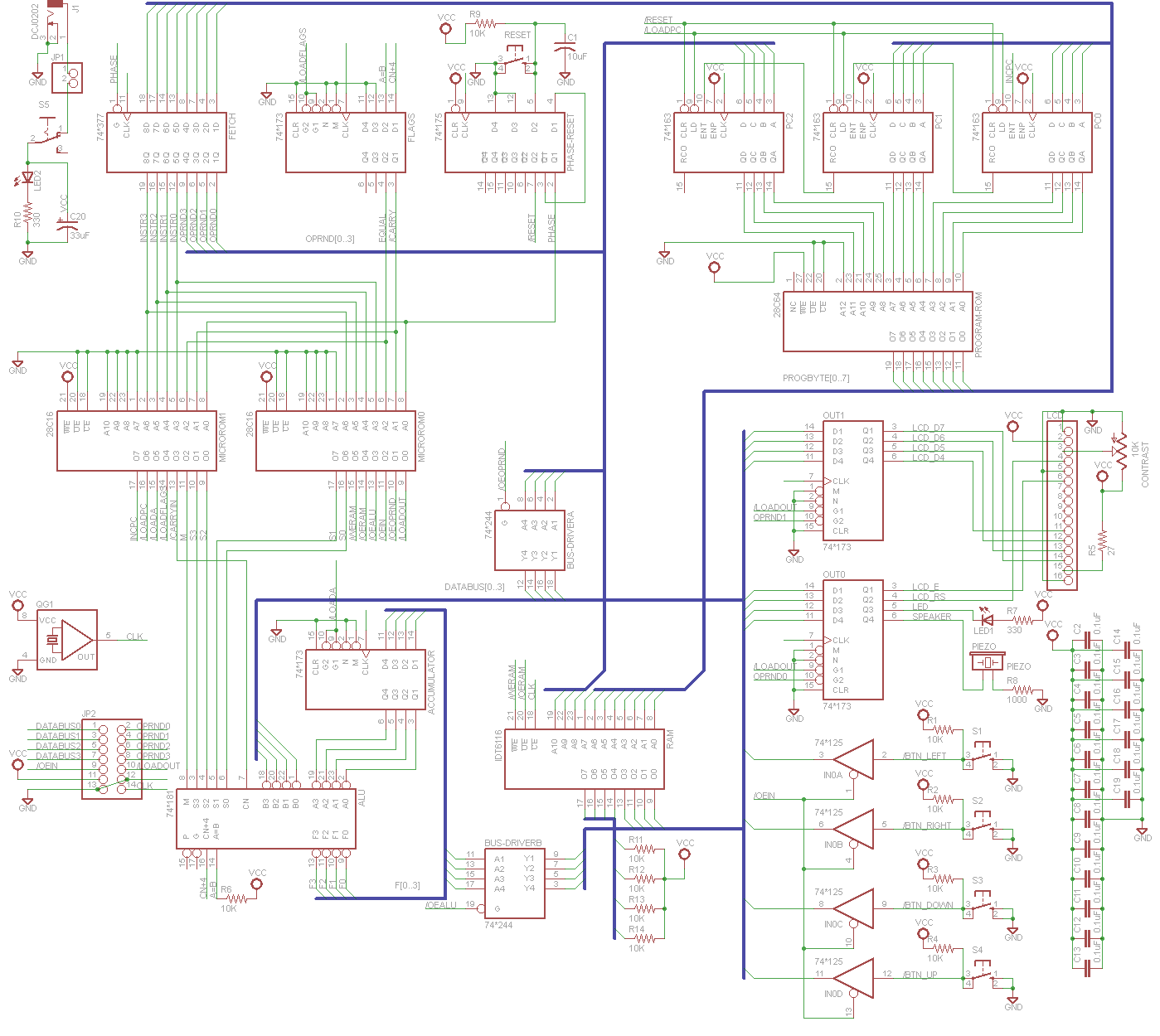 Enough with the vague design talk – here's the circuit schematic for the  Nibbler 4-bit CPU!